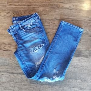 AEO Skinny Jeans Stretch Distressed Mid-Rise 12